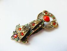 Vintage Art Deco gold red diamante green white enamel dress clip brooch fur pin