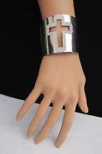 New Women Bracelet Fashion Gold Silver Cuff Jewelry Cut Out Big Sparkling Cross