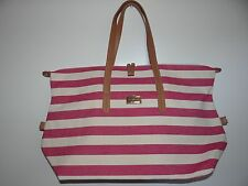 Tommy Hilfiger Women's Pink/Off-White Large Canvas Tote/Travel Bag/Handbag SALE