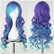 Women Anime Wigs Ombre Blue Mix Purple Long Curly Synthetic Cosplay Natural Wig