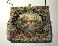 Vintage Walborg Petit Point Purse With Gold Tone Chain