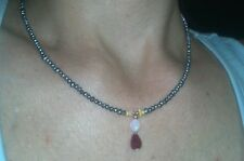 Blue seed pearls, fire Opals and Genuine Ruby necklace pendant solid 14k gold
