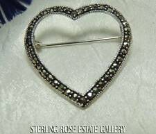 "SWEET MARCASITE HEART Sterling Silver 925 Estate 1 1/4"" BROOCH / BROACH"