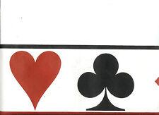 RED BLACK AND WHITE POKER WALLPAPER BORDER