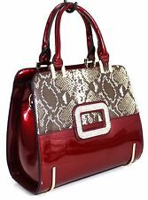 Ladies Patent Faux Leather Snake Skin Diamante Tote Shoulder Bag Handbag Red