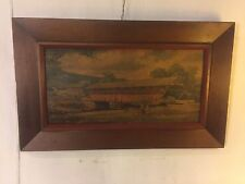 "Painting Oil/Board Antique Covered Bridge.framed32""x19"" C12pix4detail.MAKE OFFER"