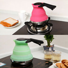 Silicone Fold Collapsible Outdoor Camping Travel Tea Kettle Stainless Steel Base