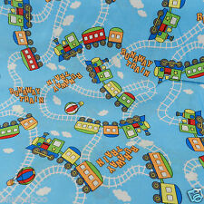 "Per Half   metre blue runaway train  fabric 54 "" wide  100 % cotton"
