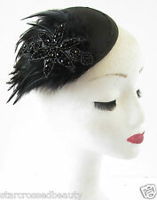 Black Feather Fascinator Headpiece Beaded Vintage Races Hair Clip Hat 1940s R76