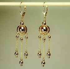 14k solid yellow gold drop/ dangle beautiful earrings leverback 2.0 grams