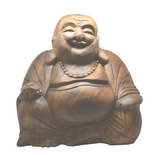 Extra Grande 30cm De Madera Tallada a Mano Lucky Riendo Buda Estatua-fair Trade