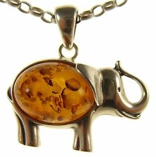 GIFT BOXED BALTIC AMBER STERLING SILVER 925 ELEPHANT PENDANT JEWELLERY JEWELRY