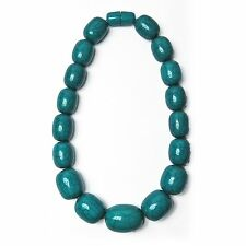 STUNNING HANDCRAFTED TEAL BLUE MARBLED JUMBO ROUND BEADED STATEMENT NECKLACE