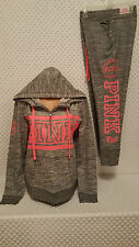 NWT Victoria's Secret PINK Fashion Show Marled Gray Half Zip Hoodie&Pants Set L