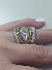 Victoria Wieck Eternity 236 PC 14KT White/Yellow gold  filled ring size 8