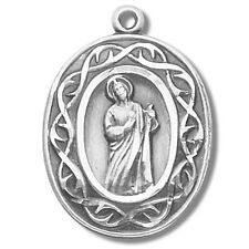 Sterling Silver St Jude Crown of Thorns Medal w Chain & Boxed from MRT