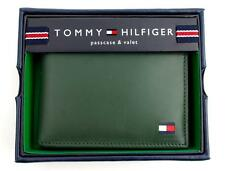 NEW TOMMY HILFIGER MEN'S PREMIUM LEATHER CREDIT CARD ID WALLET GREEN 31TL22X046