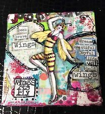 """Mixed Media 4""""x4"""" Canvas - Full of Whimsy - Must See"""