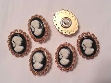 """3/4"""" X 1"""" Oval VINTAGE INSPIRED CAMEO Buttons (6 pc)"""