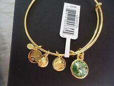Alex and Ani AUGUST Birthstone PERIDOT Yellow Gold Charm Bangle NWT Card & Box