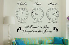 Personalised Kids Birth Date Vinyl Wall Art Clock x 3 Stickers*