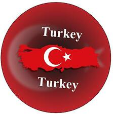 TURKEY MAP / FLAG - ROUND SOUVENIR FRIDGE MAGNET - NEW - GIFT