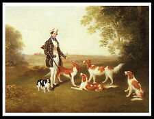 IRISH RED AND WHITE SETTER MAN AND DOGS GREAT VINTAGE STYLE DOG PRINT POSTER