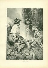 Early 1900s Antique Forest Hunting Print ~ Fried Bacon ~ Camping