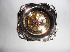 Vintage Chinelly Art Enameled Silver Plated Ashtray Stamped Made in Italy