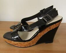 Womens WHITE HOUSE BLACK MARKET Patent Leather & Cork Wedge Sandals ~ 8.5 M