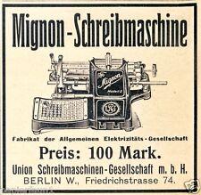 Schreibmaschine Mignon Reklame 1907 Union GmbH Berlin Friedrichstrasse Werbung