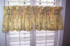 """CROSCILL CURTAIN VALANCE TROPICAL PALM FLORAL YELLOW GREEN 84"""" X 16.5"""""""