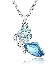 GirlZ! blue swarovski like element crystal Butterfly Pendant necklace with chain