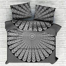 Indian Black & White Peacock Mandala Double Duvet Cover Set Bohemian Hippie Boho