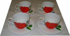 Marimekko Iittala Primavera Strawberry Red Tea Cups Saucers Maija Isola Finland