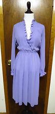 Vintage Diane Von Furstenberg Lavender Ruffle Collar Cuff Shift Dress Sz S DVF