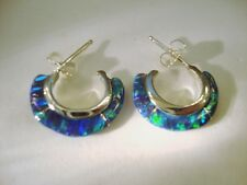 Black blueGreen FIRE OPAL Small Hoop Earrings Sterling Silver 925 Thin sliced