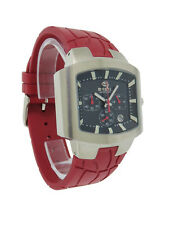 Breil BW0146 Men's Analog Black Tonneau Chronograph Date Red Rubber Watch