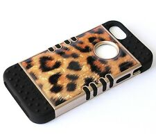 For iPHONE SE 5S HARD & SOFT RUBBER HYBRID ARMOR CASE BLACK GOLD LEOPARD CHEETAH