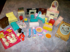 Lot vintage dollhouse furniture and accessories 1960s+ Plasco Mar Mattel Hasbro