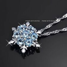 Frozen Snowflake Necklace Blue Promise Love Present Xmas Gift For Her Wife Women