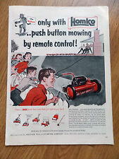 1954 Homko Lawnmower Ad   Push Button Mowing by Remote Control The Robot