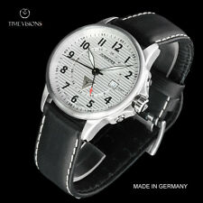 Junkers 40mm Tante JU German Made Corrugated Dial Swiss GMT Leather Strap Watch