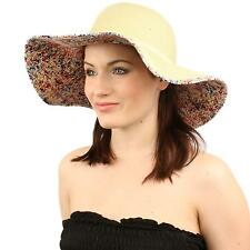 "UPF Summer Floral Under Visor Wide Brim 4-1/8"" Floppy Beach Sun Hat Natural Red"
