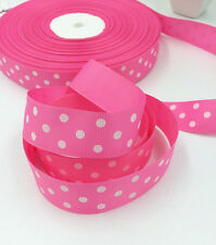 "5/10/100 Yards 1""( 25mm)  printed lot large dots Grosgrain Ribbon lot"