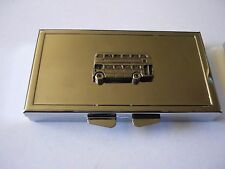 Double Decker Bus w28 English Pewter On Mirrored 7 Day Pill box Compact