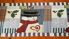"""New 6ft Snowman Tapestry Fabric Holiday Christmas Table Runner 13"""" x 72"""""""