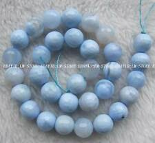 """12mm Blue Agate Faceted Round Beads 15"""""""
