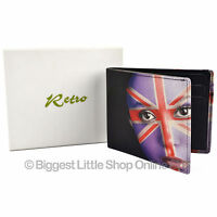 NEW Mens Top Quality LEATHER Bi-Fold WALLET by Retro UNION JACK Face Gift Box