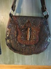 old handmade custom leathermans,scrolled flower carry case purse leather strap
